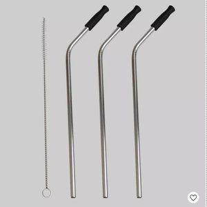 3 Pk Metal Straws with Brush